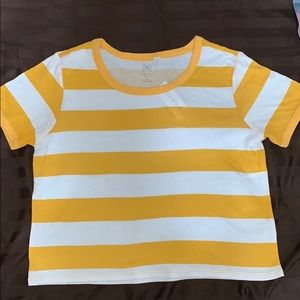 Yellow and white striped crop T-shirt from Pacsun!